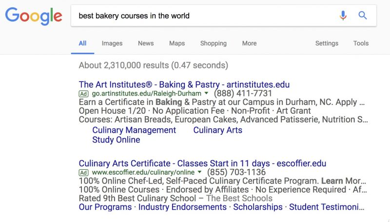 BAKERY COURSE SEARCH