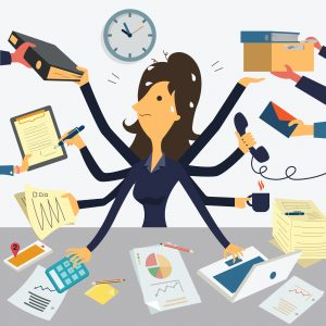 Very busy SEO businesswoman
